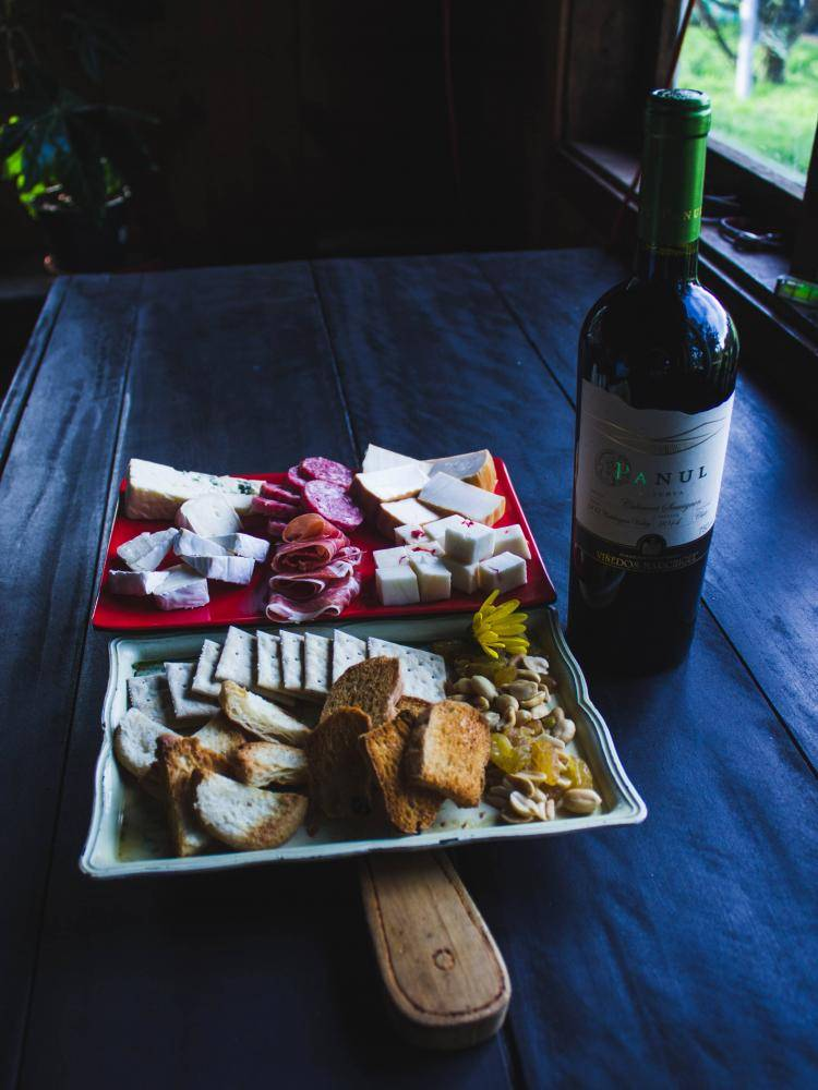 wine, meat and cheese board
